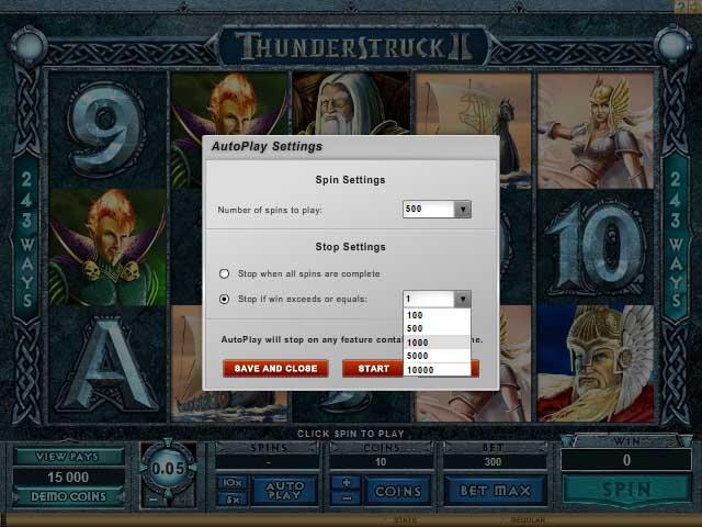 Slots Auto Play Setting